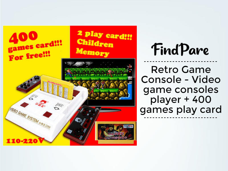 Retro Game Console - Video game consoles player + 400 games play card