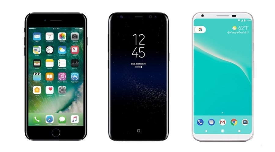 iPhone8, Galaxy S8,Note 8, & Google Pixel 2 all have OLED Displays.